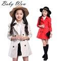 Niños Windbreaker chaquetas coreana Gentlewoman chicas grandes ropa muchacha de los niños de solapa doble de pecho cabritos de la capa Outwear tyh-20549