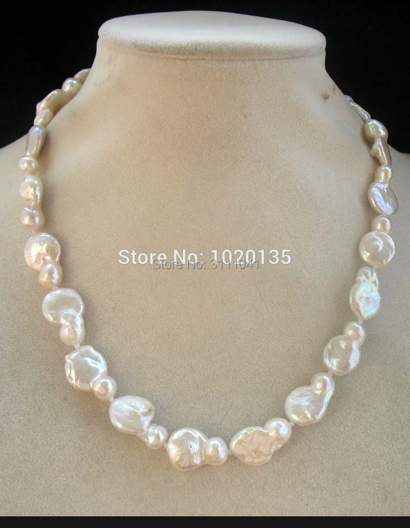 freshwater pearl white unique baroque flat 17inch wholesale nature beads FPPJ image