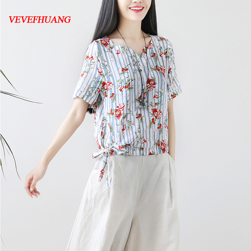 Korean Fashion Summer Tops for Womens Clothes Tees New Women Cotton and Linen Stripe Floral Print T Shirt Female Vintage Tshirt