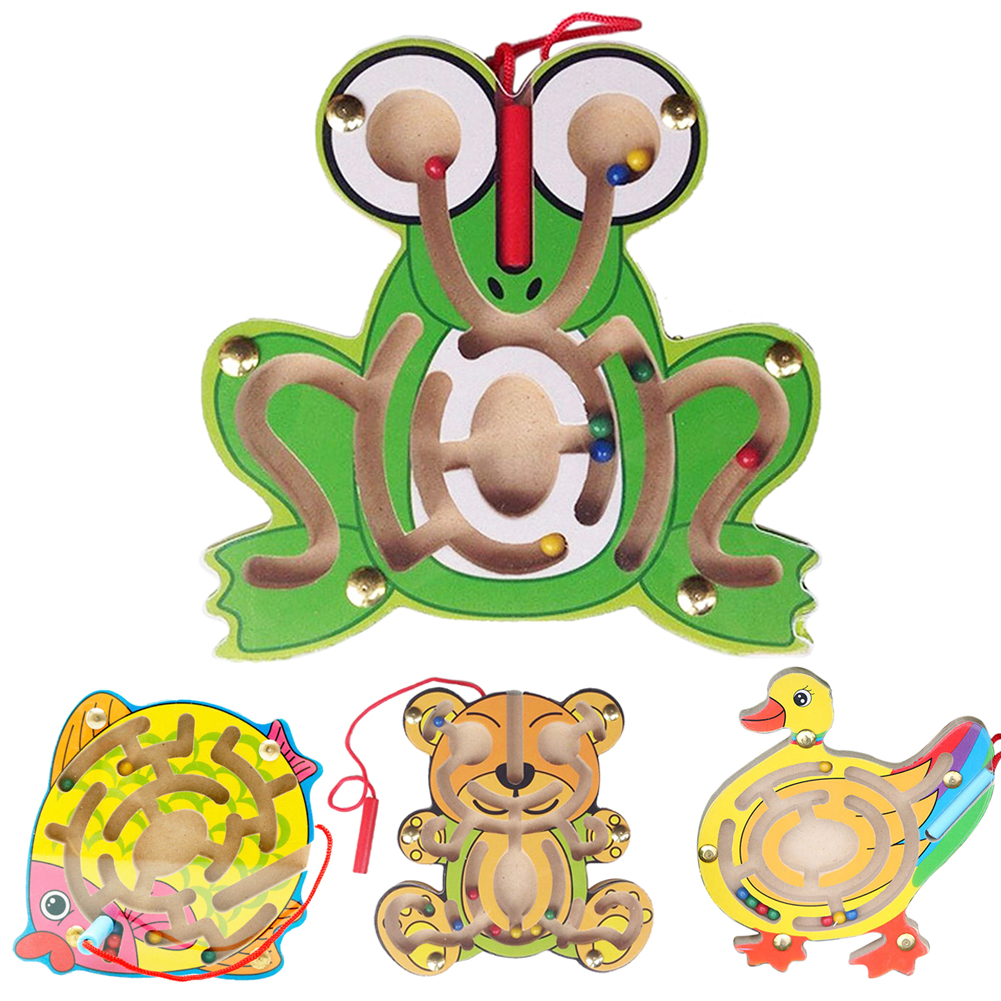 Kids Wooden Animal Puzzle Early Educational Learning Toys Fish/Duck/Frog/Bear Intellectual Game  for Children gift children s early childhood educational toys the bear change clothes play toys creative wooden jigsaw puzzle girls toys