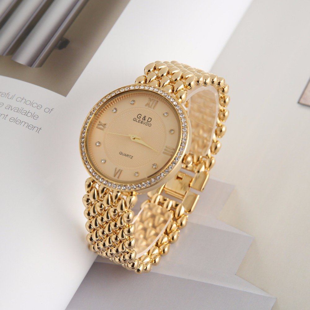 2018 G&D Luxury Brand Women's Watches Ladies Bracelet Watches Quartz Wristwatches Dress Watches Relogio Feminino Clock Gift Gold