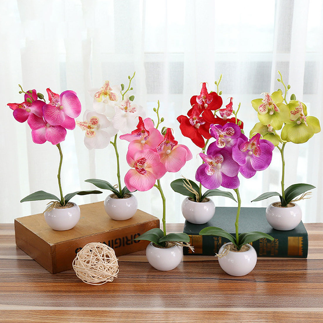 INDIGO Phalaenopsis Orchid Silk Real Touch Artificial Flower Wedding ...