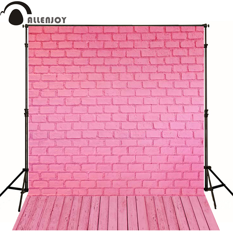 Allenjoy Photographic background Pink brick wood newborn vinyl backdrops  photo for studio wall floor camera fotografica недорого