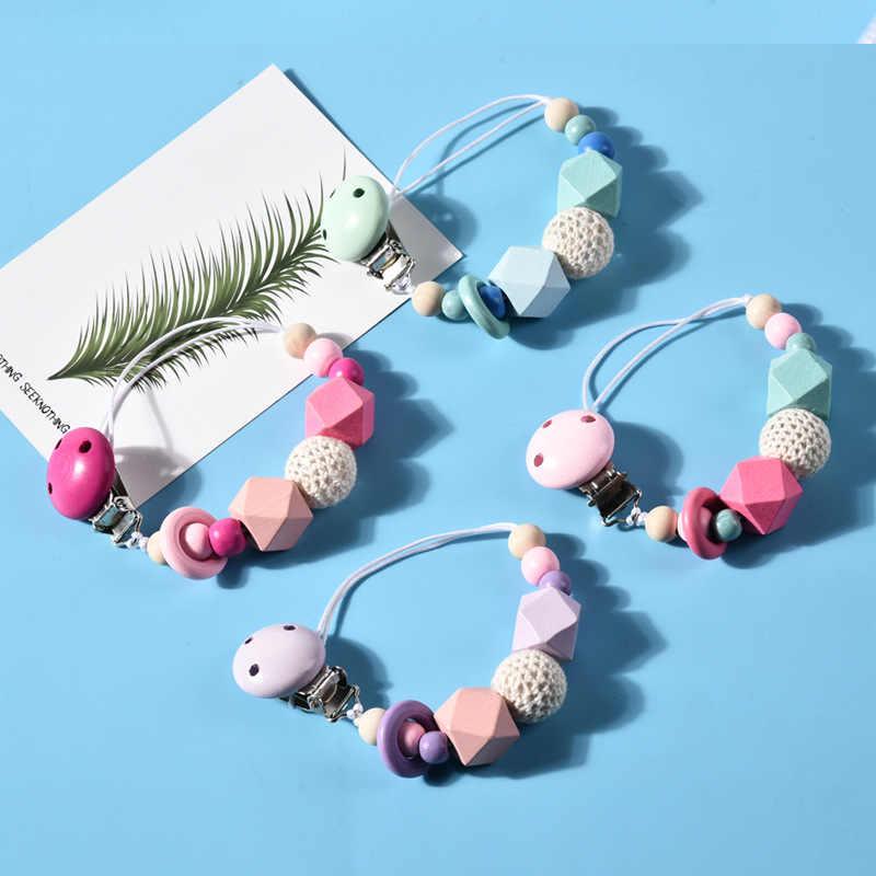 DIY цветные деревянные клипсы для соски забавная цепочка-пустышка для кормления младенцев ясельного возраста прорезывание зубов игрушка пустышки без BPA