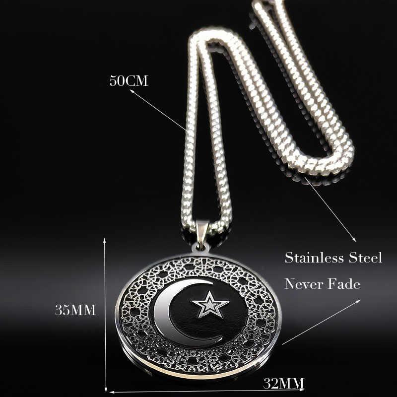 2019 moda muzułmanin gwiazda księżyc naszyjniki ze stali nierdzewnej mężczyźni czarny kolor srebrny Luna naszyjniki wisiorki biżuteria colgante N18538