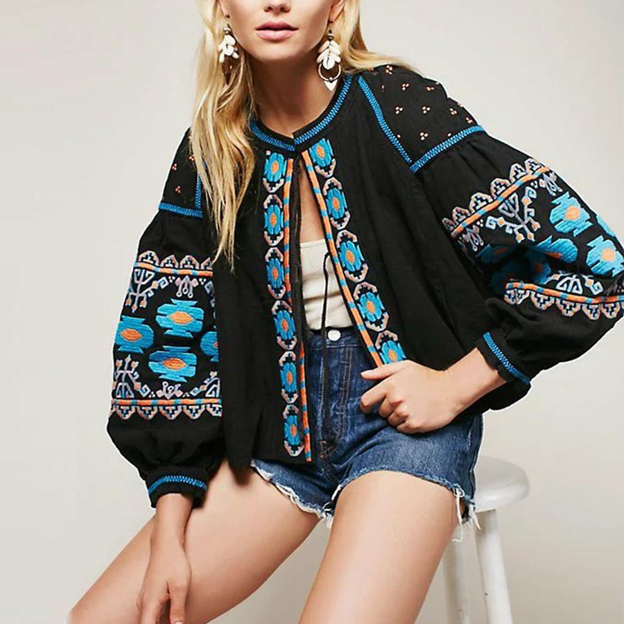 BOHO blouse 2017 cotton floral embroidered blouses tassel long lantern sleeve loose Casual hippie women tops