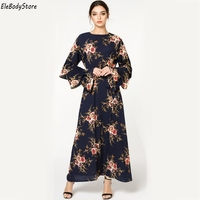 2018 Plus Size Dress Women Vestidos Casual Muslim Long Sleeve Maxi Dresses Clothing Evening Party 4XL