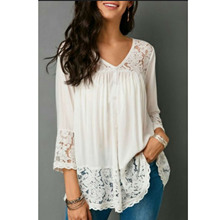 ZOGAA 2018 Fashion Womens Solid Blouse V-neck Lace Up Chiffon Sweet Blouses Summer Clothing