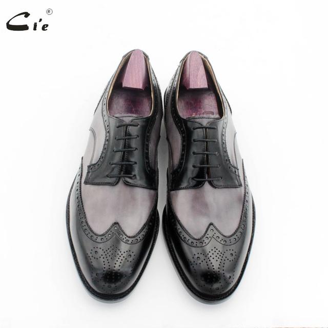 Ci'e – Round toe wingtips, medallion gray mix black derby business men's dress shoe