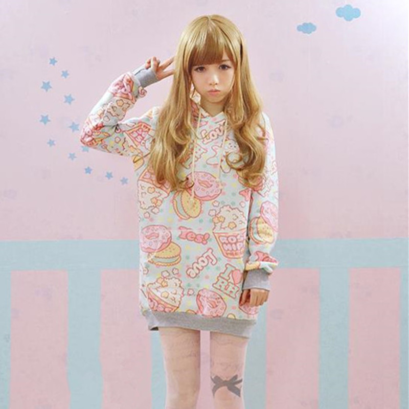 5 stylů Japonsko HARAJUKU mikiny Měkká sestra Roztomilý pohár dort Kawaii Sladké mikiny Dívka Zimní Fleece Roztomilé ženy Svetry