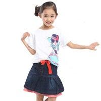 Estilo verão Novo Bebê Meninas Conjunto de Roupas de Moda Menina Padrão T-shirt + Denim Cinto Arco Saias 2 pcs Roupa Dos Miúdos Conjuntos