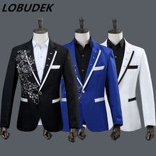 (jacket+pants) new male suit set sequin jacket diamond blazer host stage wear costumes team singer show performance full dress
