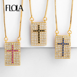 FLOLA Gold Cross Necklace Women Cubic Zirconia High Quality Chain Necklace Long Gold Jewelry Cross Pendant Necklace nkep24