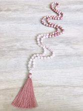 Rhodonite & rosequartz colar 108 mala contas colar mão atada colares taeesl colares oração meditação contas