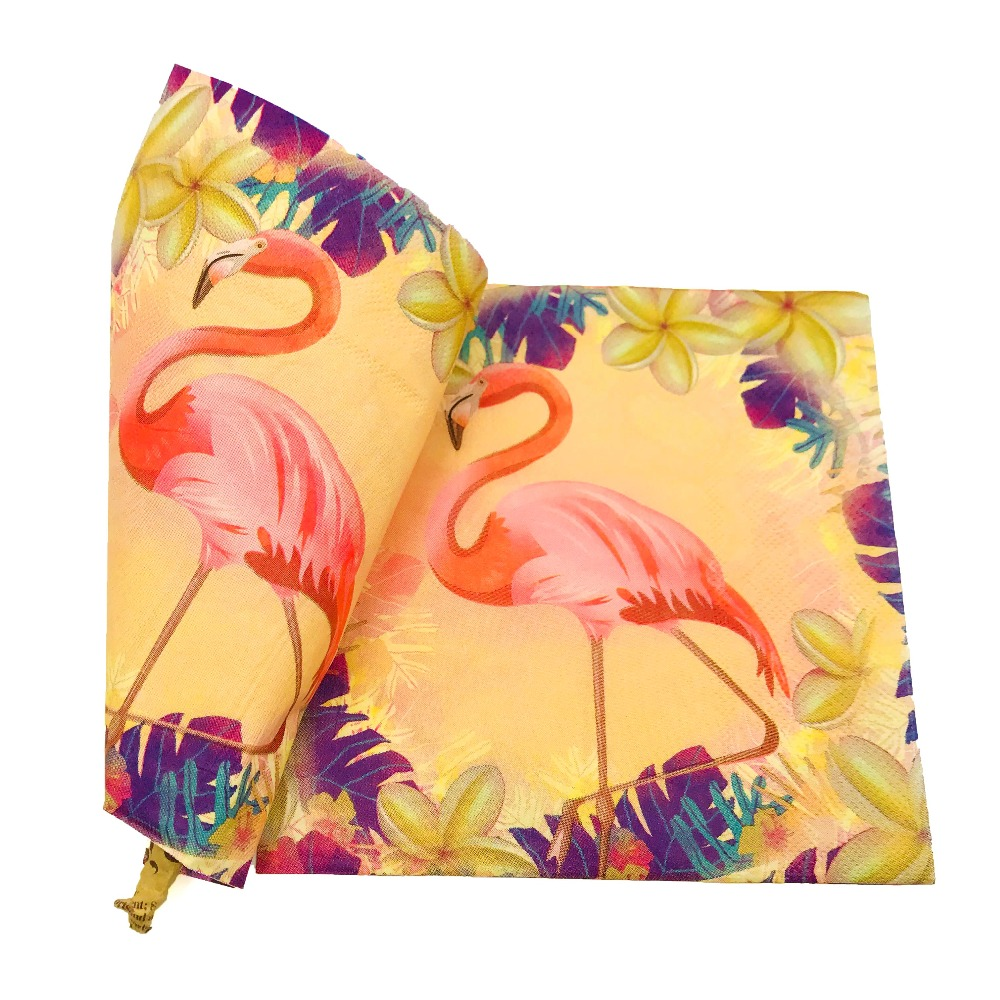 10pcs Flamingo Paper Napkin Party Supplies Festive & Tissue Baby Shower for Kids Birthday Decorations Favors