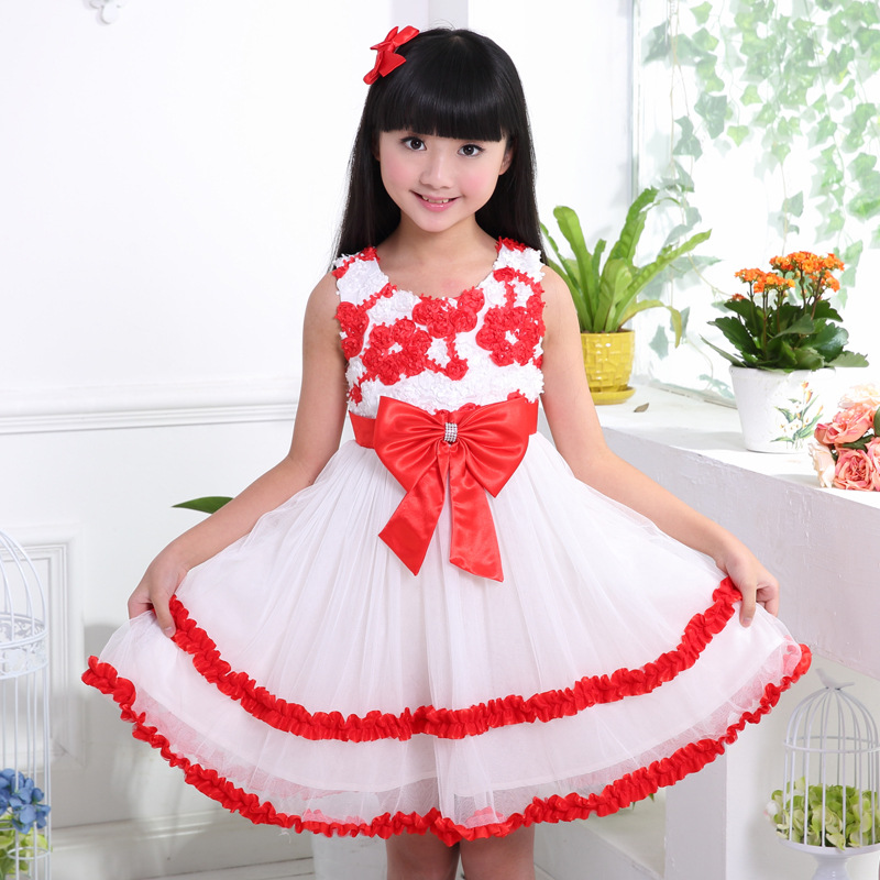 2017 Princess Pageant Party Girl Flower Dress Summer Teen Kids Sleeveless Wedding Dresses O-Neck 12 Years Teenagers Gowns женское платье summer dress 2015cute o women dress
