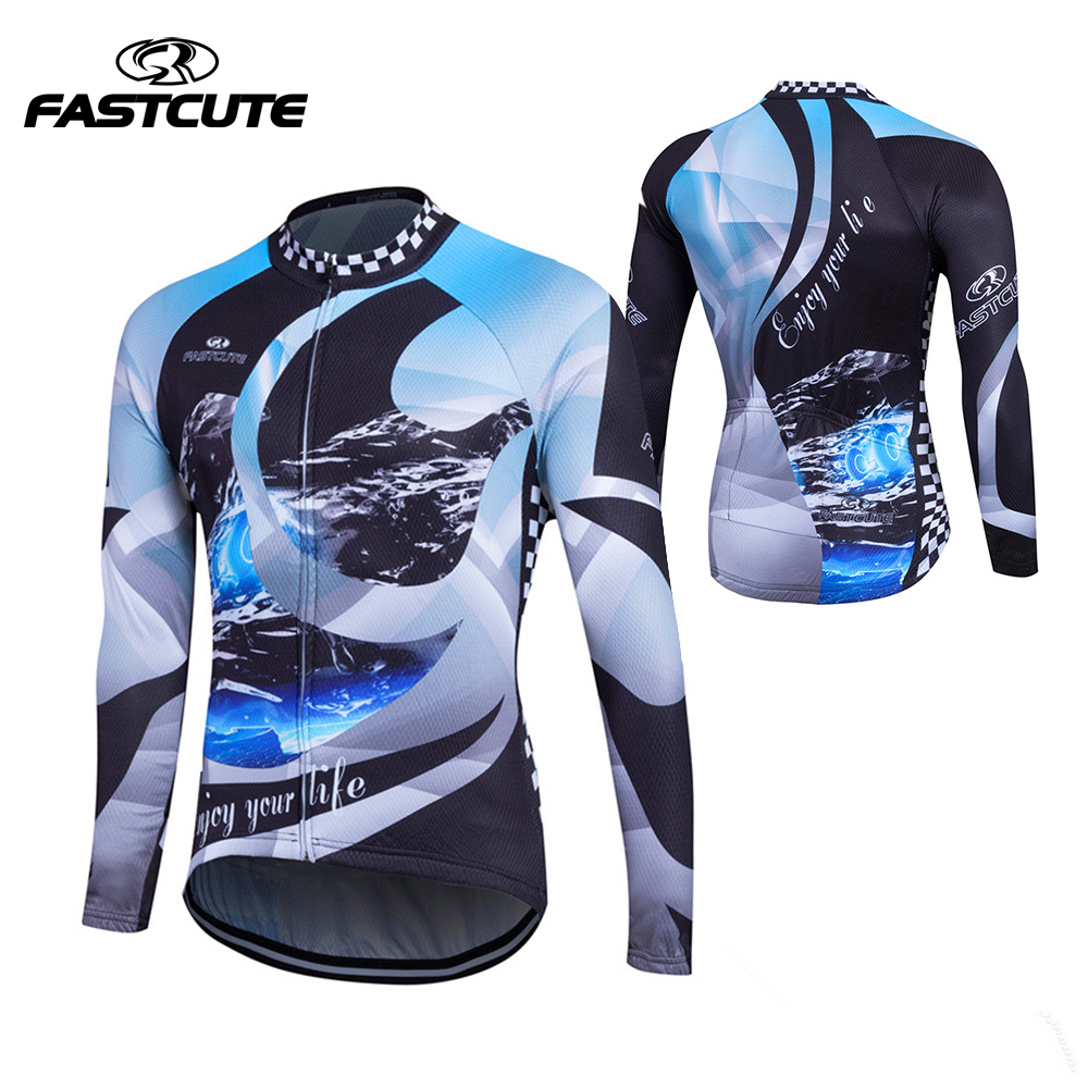 2018 Long Sleeve Outdoor Sports Bicycle Cycle Clothing Quick Dry Riding Clothes fastcute new 100%polyester Mens Cycling Jersey