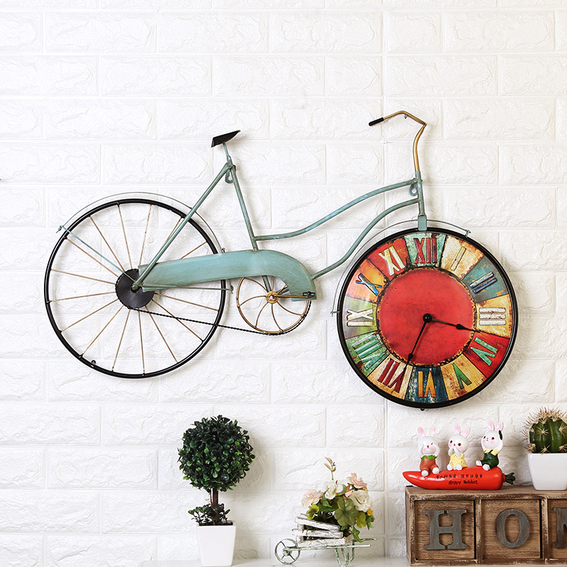 Bike Design Wall Clock : American creative bicycle wall clock personality bike