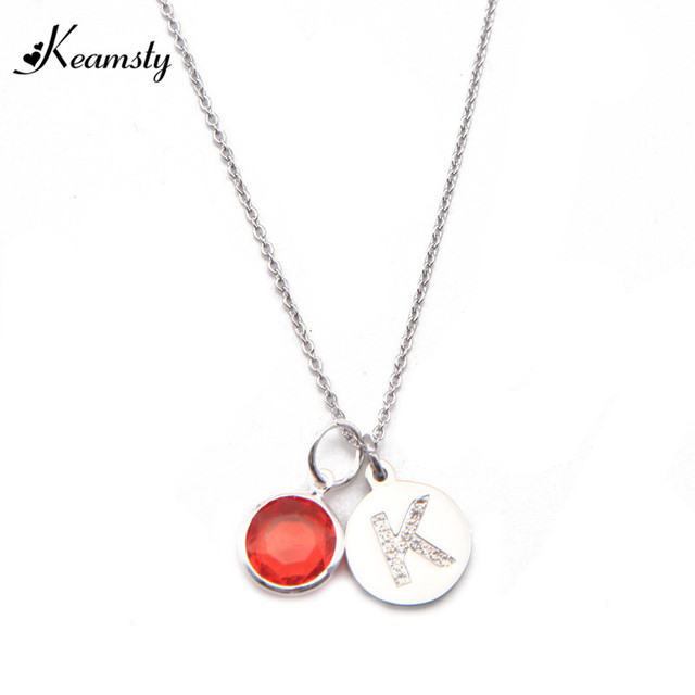 Keamsty silvergold stainless steel disc pendant letter k initial keamsty silvergold stainless steel disc pendant letter k initial necklace set with 12 colors aloadofball Image collections