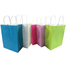 30 Pcs/lot Natural Kraft Paper Bag With Handle Wedding Party Favor Recyclable Gift/Shopping Bags 27*21*11cm