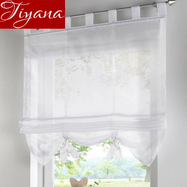 White Short Curtain Blue Solid Sheer Voile Window Kitchen Modern Living Room Cafe Rustic Curtains