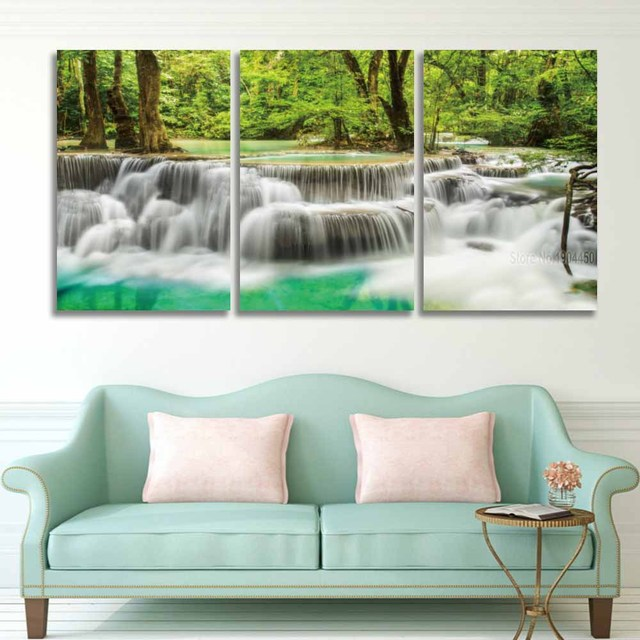 3 Panel Set HD Prints Canvas Wall Art Waterfall Landscape Painting Green  Tree Forest Picture For