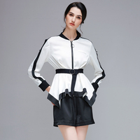 YERAD 2017 Two Pieces Set Women White Blouse Tops Black Shorts Summer Casual Sets Office Lady
