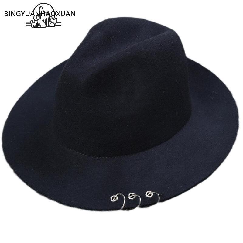 BINGYUANHAOXUAN High Quality Wide Metal Fields Rings Black Felt jazz Hat autumn-winter Wool Bowler Caps Women <font><b>For</b></font> men <font><b>Fedora</b></font>