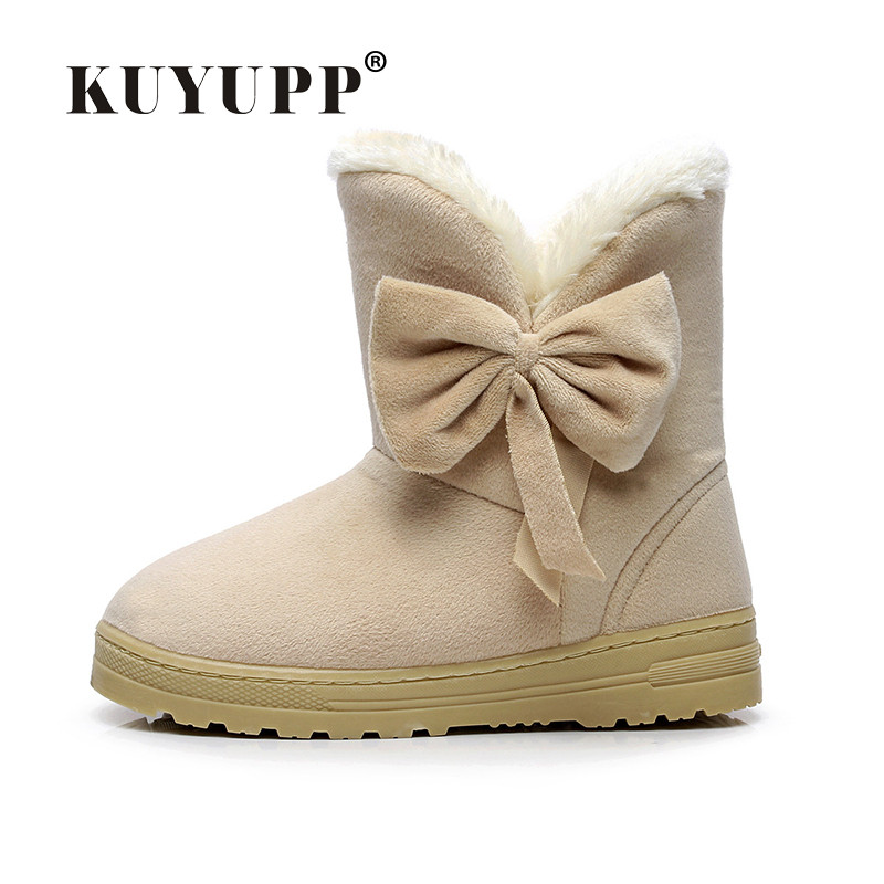 KUYUPP Flock Women Snow Boots Short Plush Winter Shoes 2017 Flat Heels Warm Plush Ankle Boots Round-toe Female Women Shoes DX905 flat with bow ankle boots shoes style women boots round toe platform snow boots for women fashion flock short outdoor shoes