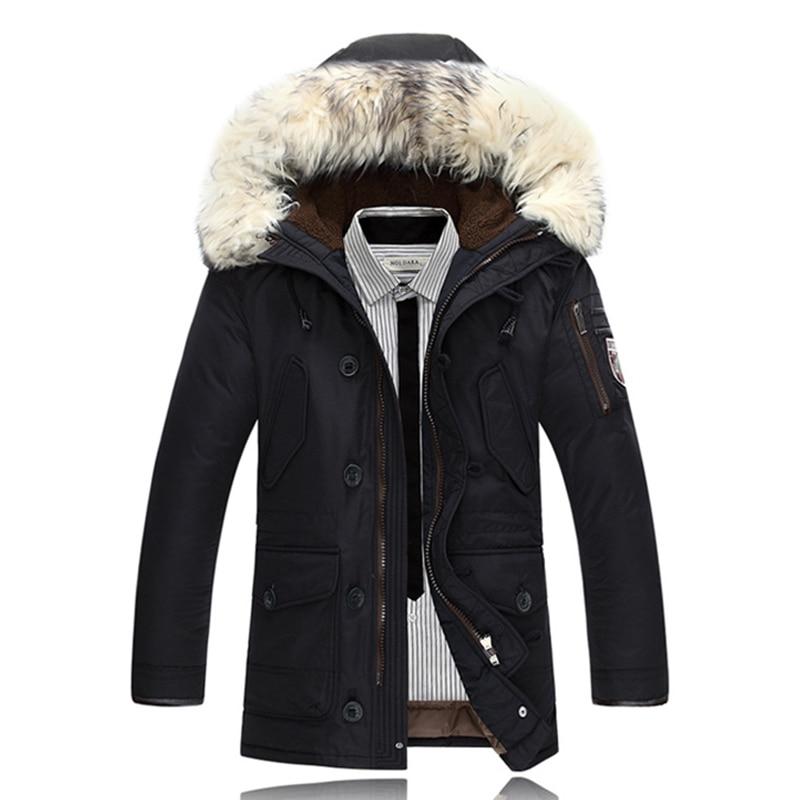 Down Coats Men Winter Jackets Mens Duck Down Coat Cashmere Fleece Parka Mans Jacket Coats Rabbit Collar Hooded Parkas Overcoats