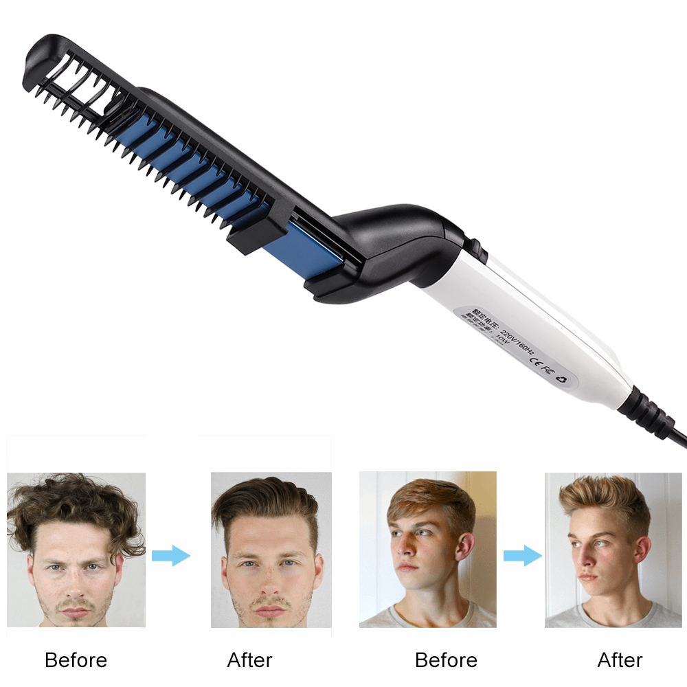 Men Quick Beard Straightener Styler Comb Multifunctional Hair Curling Curler Show Cap Tool Quick Hair Styler Beard Straightener