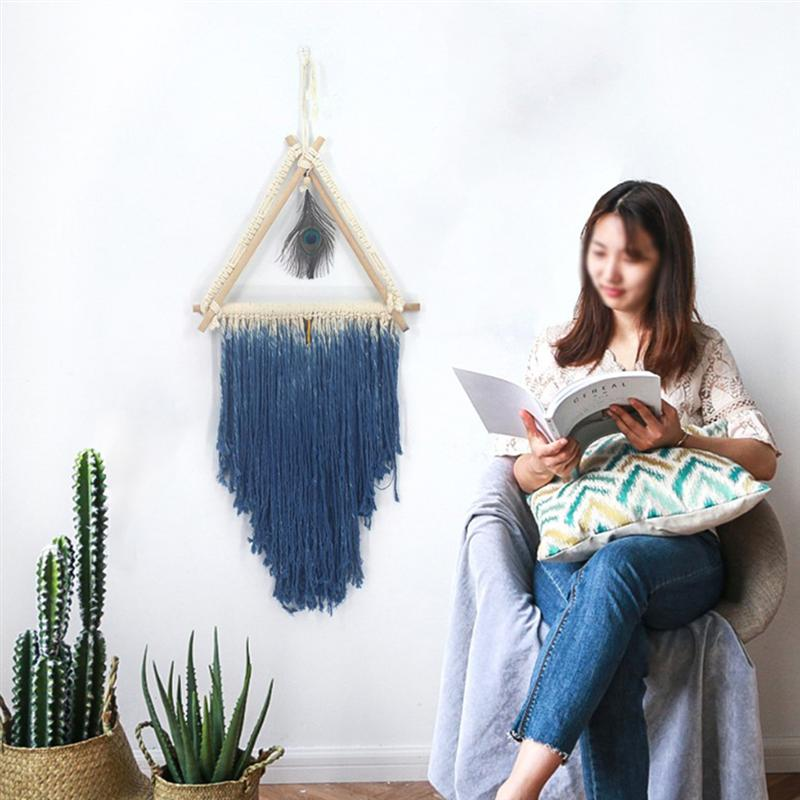 Bohemian Style Woven Tapestry Triangular Peacock Wall Hanging Pendant Fashion Wall Pendant Home Room Wedding Decoration in Wind Chimes Hanging Decorations from Home Garden