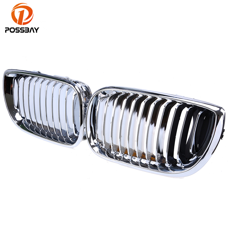 POSSBAY Voiture Grille Chrome Argent Rein Remplacement Grill pour BMW 3-Series E46 318i/320d/320i Berline 2001-2005 Lifting Grilles