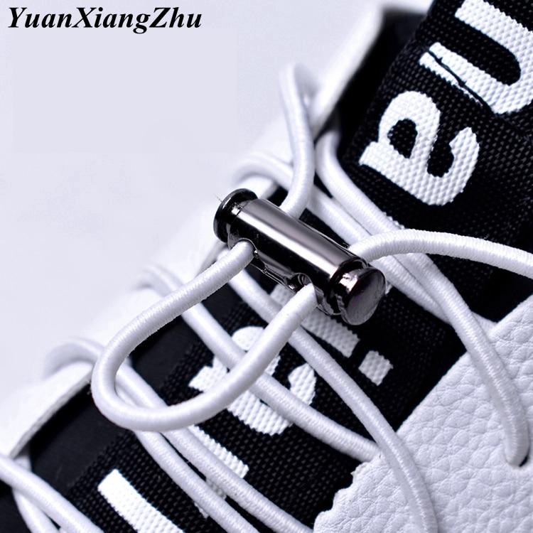 1Pair Elastic Buckle Shoelaces No Tie ShoeLaces Metal Lock Button Shoelace Kids Adult Quick Lazy Sneakers Shoes Lace Shoestrings