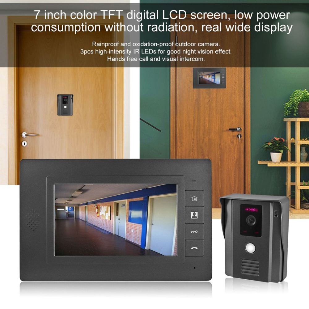 LESHP Video Door Phone Video Intercom 7 Color LCD Screen Door Intercom IR Night Vision Camera Doorbell Kit for Home Apartment 7 color video door phone video intercom door intercom doorbell kit unlock door phone with ir night vision camera for apartment