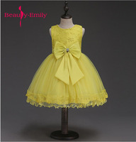 Spring light yellow dress for girls stage Lovely Appliques Flower Girl Dresses Kids Evening Gowns For Wedding party vestido
