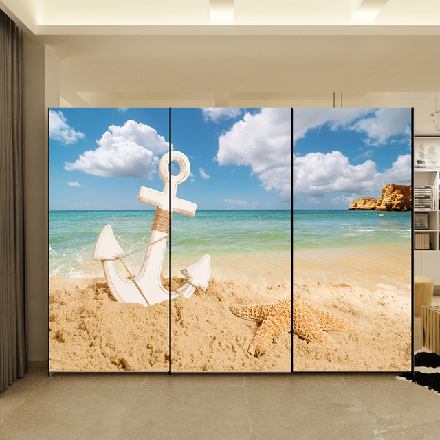 yazi Personalized Size HD Beach PVC Sliding Closet Doors Paper Living Bedroom Wallpaper Wall Sticker Window & yazi Personalized Size HD Beach PVC Sliding Closet Doors Paper ...
