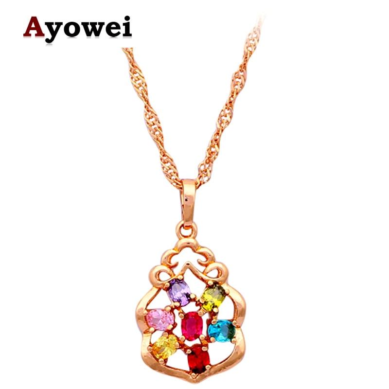 8db3f5925be9 Moda vintage Collares para las mujeres alta calidad oro color AAA zirconia  cristal joyería ln199a