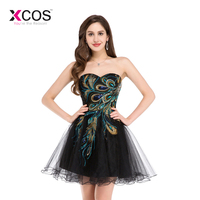 New Short Homecoming Dresses 2019 Sweetheart Peacock Feather Embroidery Pattern Tulle Black Mini Formal Junior Dress Cheap