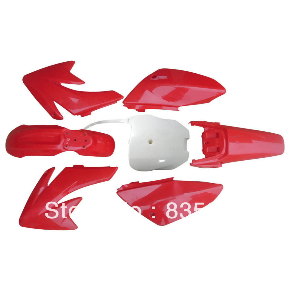 Motorcycle Dirt Bike Body Plastic Kit Fender For Honda  70 CRF 70 CRF 6+1 Red+WHITE 35 83 motorcycle throttle cable for 50cc 150cc dirt bike d030 042