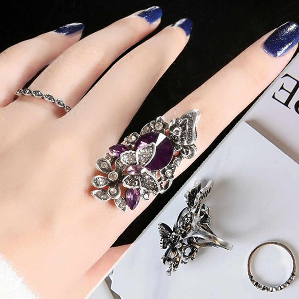 Dropshipping 2019 luxury Fashion jewelry Retro & inlay Butterfly ring (two - piece)Size For Ladies Gifts #116