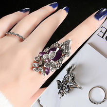 2018 luxury Fashion jewelry Retro sapphire & Amethyst inlay Butterfly ring (two - piece)Size For Ladies Gifts #116(China)
