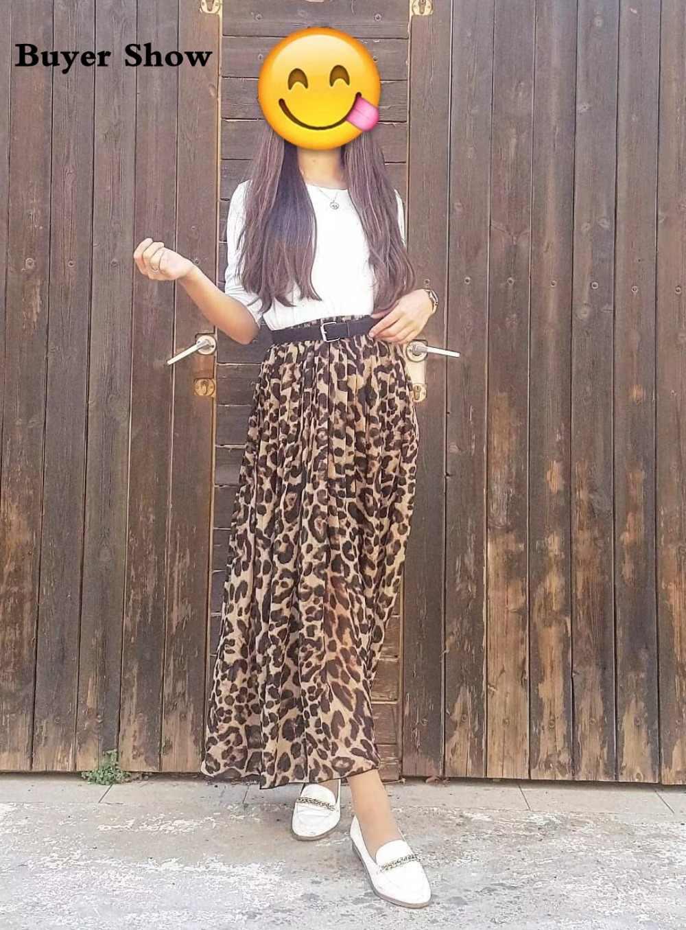 621407b9e ... TingYiLi Summer Women Long Leopard Print Skirt Elastic High Waist  Chiffon Pleated Slim Fit Casual Maxi