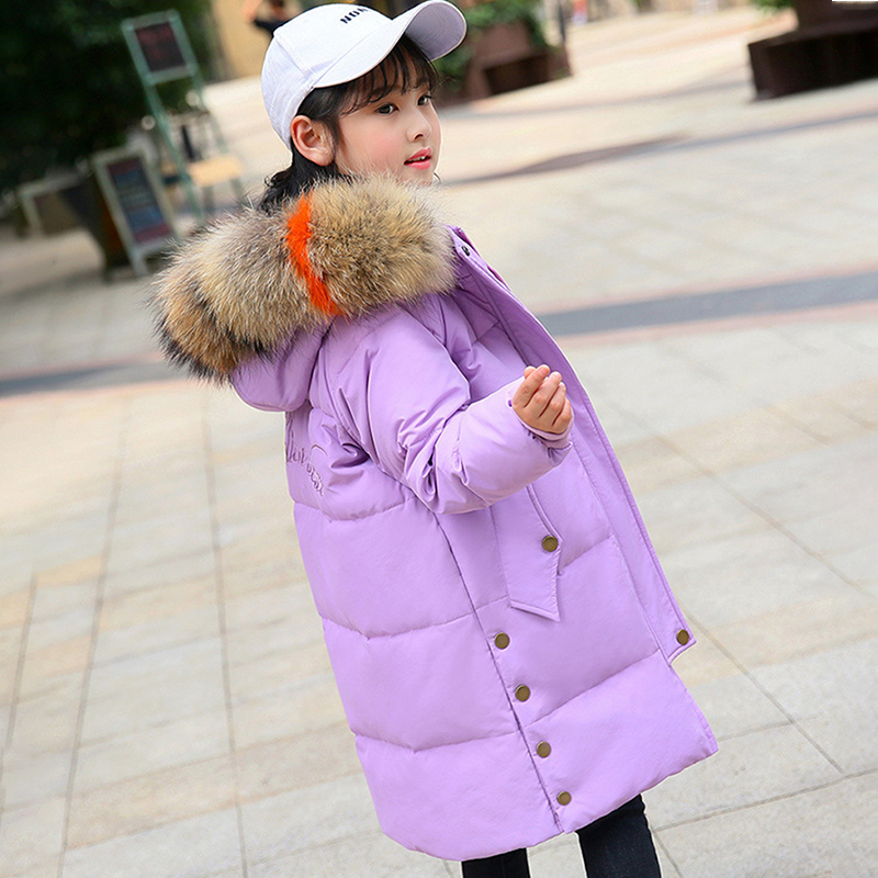 Down Jacket for Girl 2018 Children Girls Clothes Thicken Warm Winter Coat Teenage Long Jackets Parka Real Fur Hooded Outerwear 2018 winter down jacket for girls thick long warm hooded girls winter coat 5 14 years children parka teenage girls outerwear