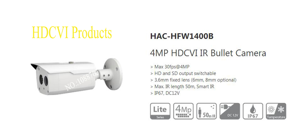 Free Shipping DAHUA HAC-HFW1400B CCTV Camera 4MP HDCVI IR Bullet Camera IP67 without Logo