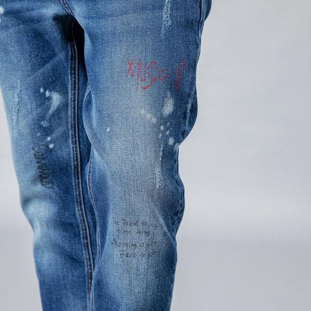 Men's Ripped Jeans Summer Letter Printed Ankle-length Streetwear