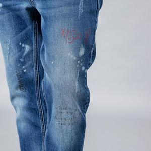 Image 4 - SIMWOOD 2020 spring winter new fashion letter print ankle length jeans men streetwear ripped hole hip hop denim pants 190202