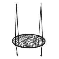 KiWarm Black Round Hammock Outdoor Indoor Dormitory Bedroom Children Swing Bed Kids Adult Swinging Hanging Single