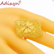 Adixyn India Plus Wide Ring for Women/Teenage Girls Gold Color Trendy Charm Party Jewelry African/Ethiopian/Arab Items N02271