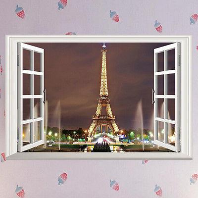 3D Window Paris Eiffel Tower Wall Decal Art Vinyl Mural DIY Living Room Home  Decor Wall